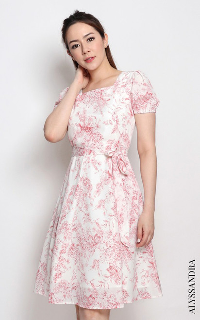 Toile Print Square Neck Dress - Red
