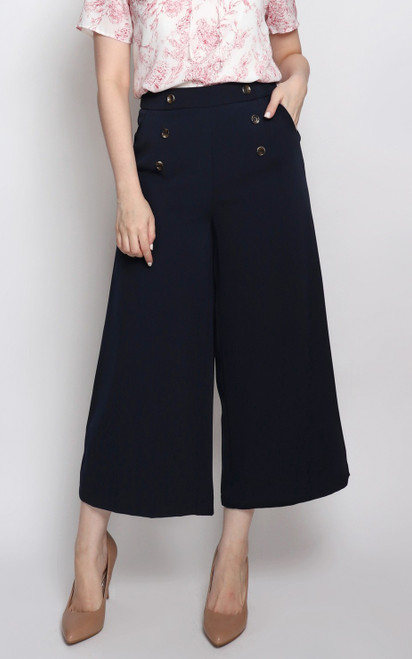 Buttons Flare Culottes - Navy