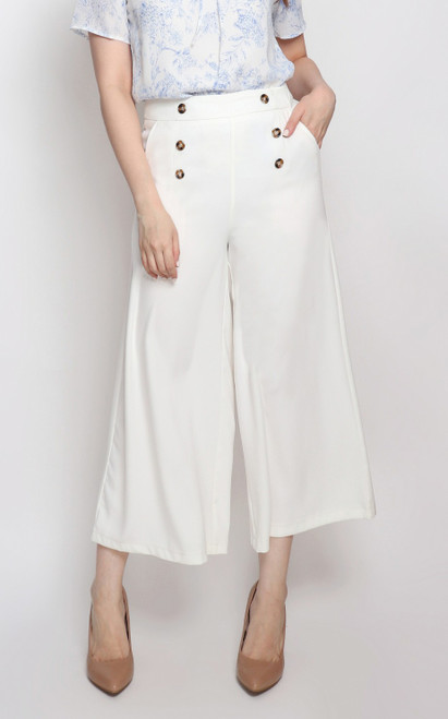 Buttons Flare Culottes - White