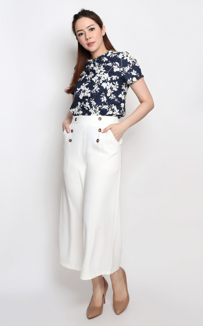 Rolled Neck Top - Navy
