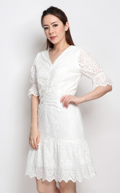 Ruched Eyelet Dress - White