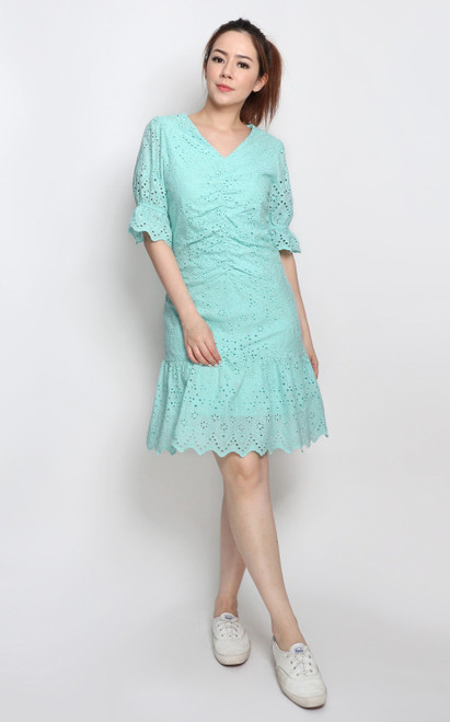 Ruched Eyelet Dress - Mint