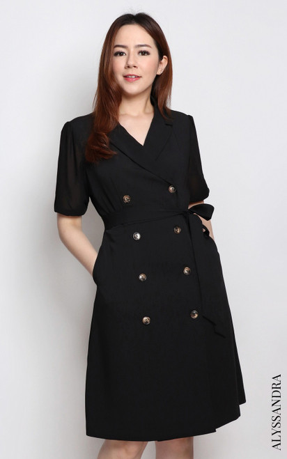 Chiffon Sleeves Tux Dress