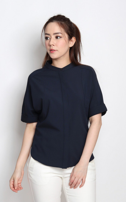 Batwing Blouse - Navy
