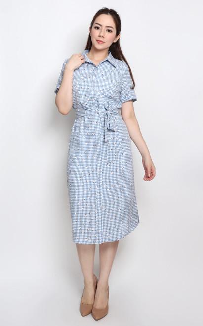 Gingham Shirt Dress - Blue