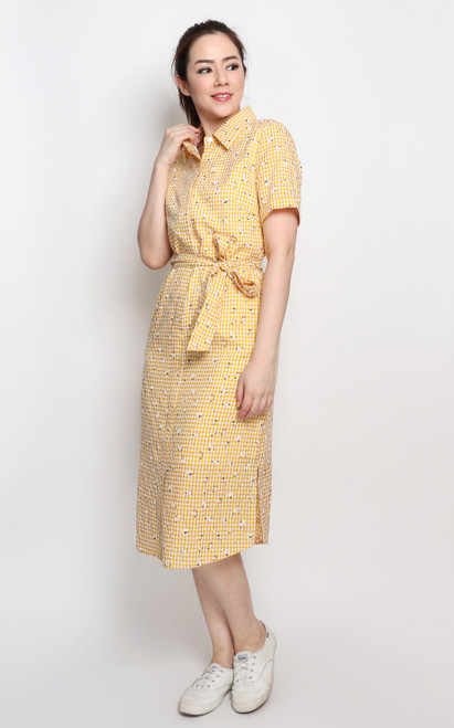 Gingham Shirt Dress - Marigold