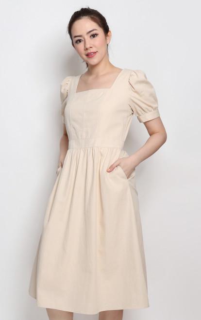 Square Neck Linen Dress - Ecru
