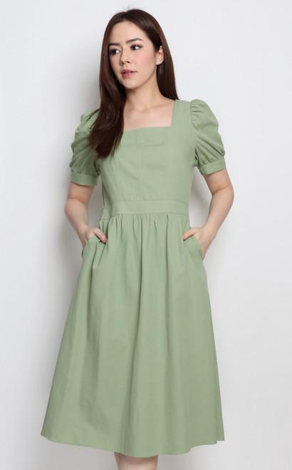 Square Neck Linen Dress - Sage