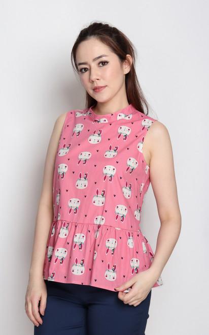 Bunny Peplum Top - Pink