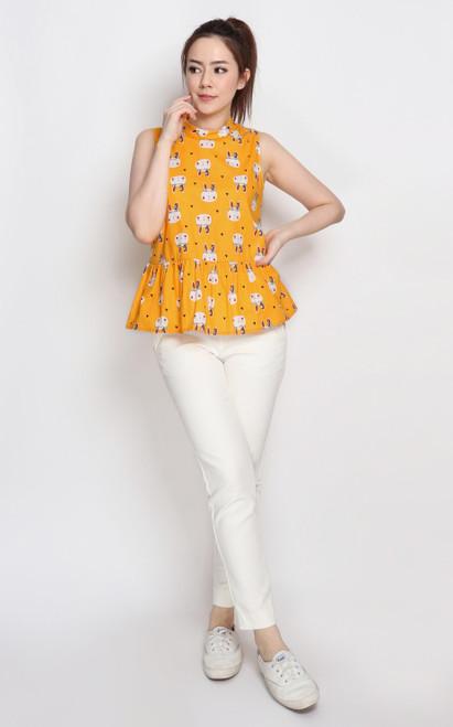 Bunny Peplum Top - Marigold
