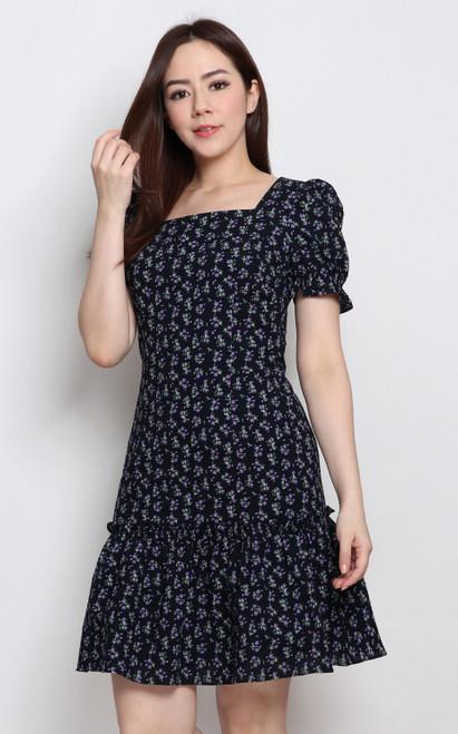 Floral Square Neck Dress - Navy