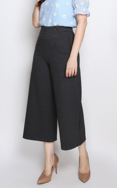 Wide Leg Buttons Culottes - Grey