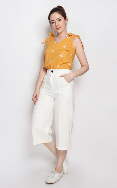 Bow Shoulder Top - Mustard