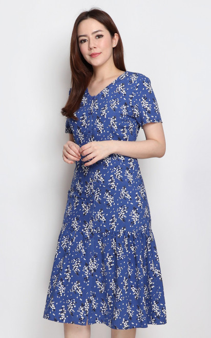 Ruffle Hem Midi Dress - Blue