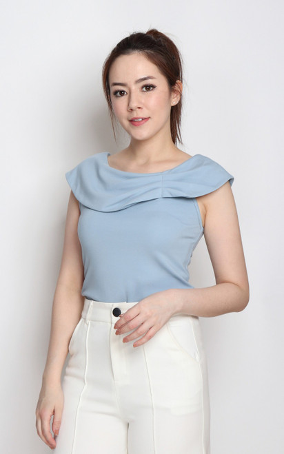 Asymmetrical Foldover Neck Top - Blue
