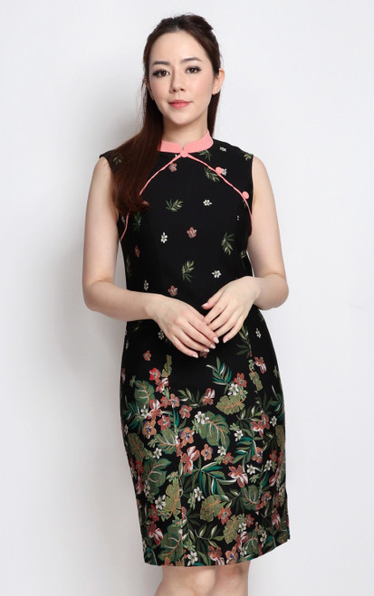 Placement Print Cheongsam - Floral