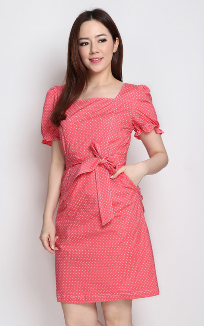 Polka Dot Square Neck Dress - Pink