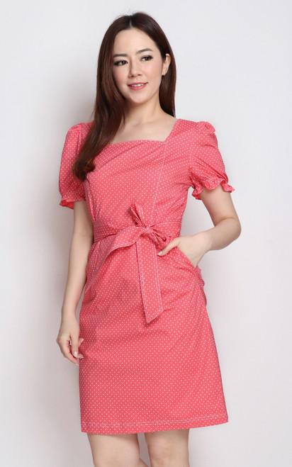 Polka Dot Square Neck Dress - Pink