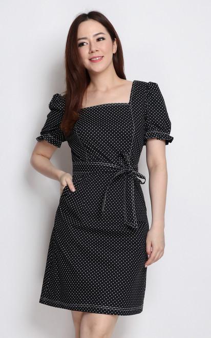 Polka Dot Square Neck Dress - Black