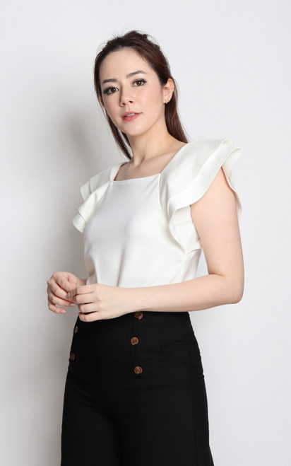 Frill Sleeves Top - White