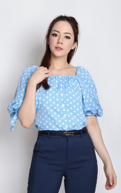 Polka Dot Puff Sleeves Top - Light Blue