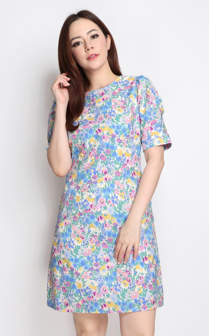 Floral Shift Dress - Blue