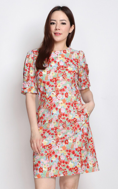 Floral Shift Dress - Red