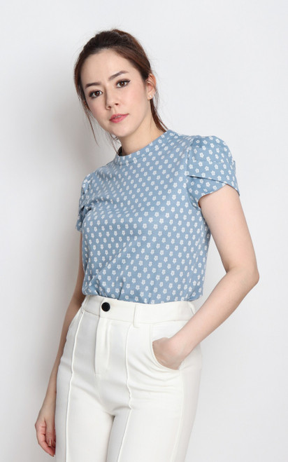 Tulip Puff Sleeves Top - Blue