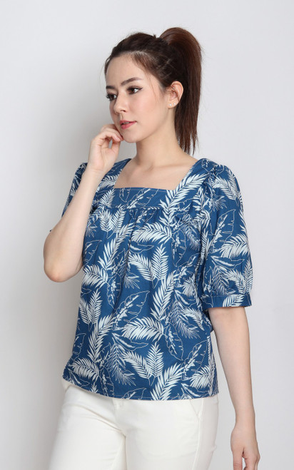 Tropical Leaf Top - Blue