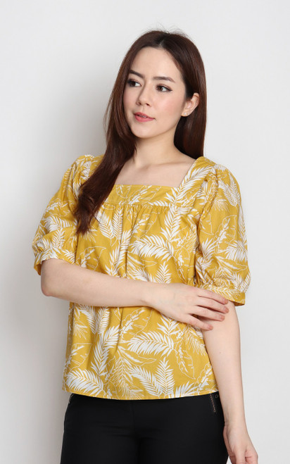 Tropical Leaf Top - Yellow