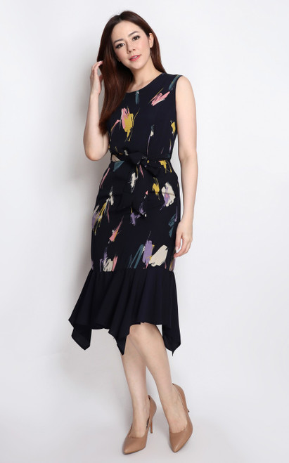 Brush Stroke Dress - Navy