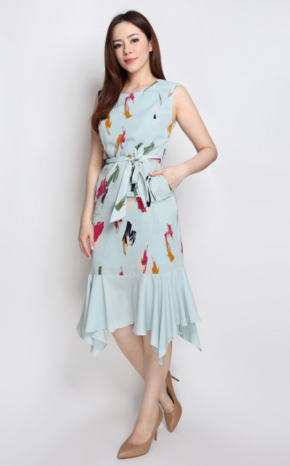 Brush Stroke Dress - Light Blue