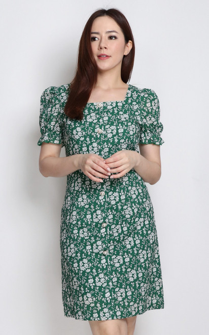 Textured Square Neck Dress - Green