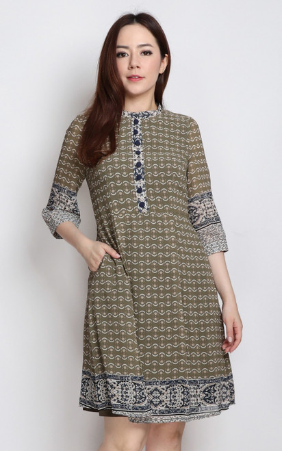 Contrast Printed Dress - Olive