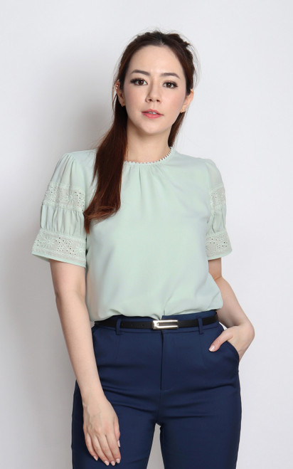 Eyelet Sleeve Top - Seafoam