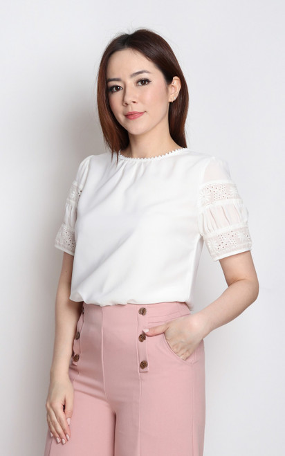 Eyelet Sleeve Top - White