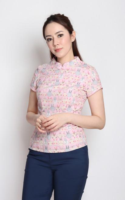 Bunny Cheongsam Top - Pink