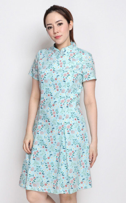 Floral Sleeved Cheongsam - Blue