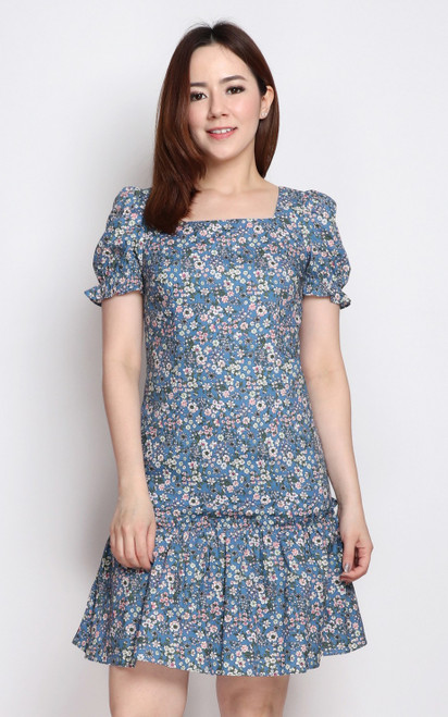 Sakura Print Square Neck Dress - Blue