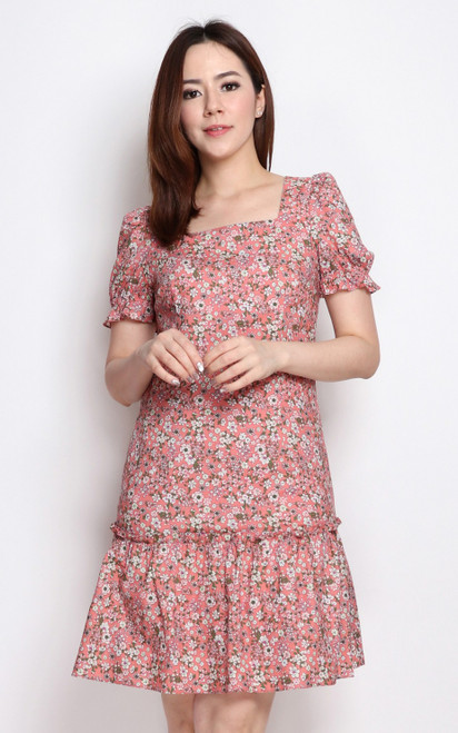 Sakura Print Square Neck Dress - Peach Pink
