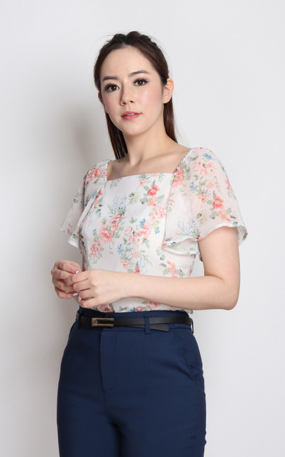 Floral Dobby Dot Square Neck Top - White