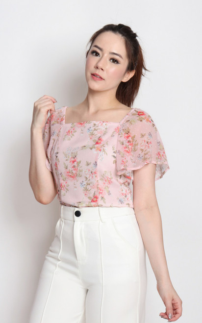 Floral Dobby Dot Square Neck Top - Pink