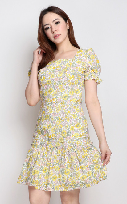 Floral Square Neck Dress - Yellow
