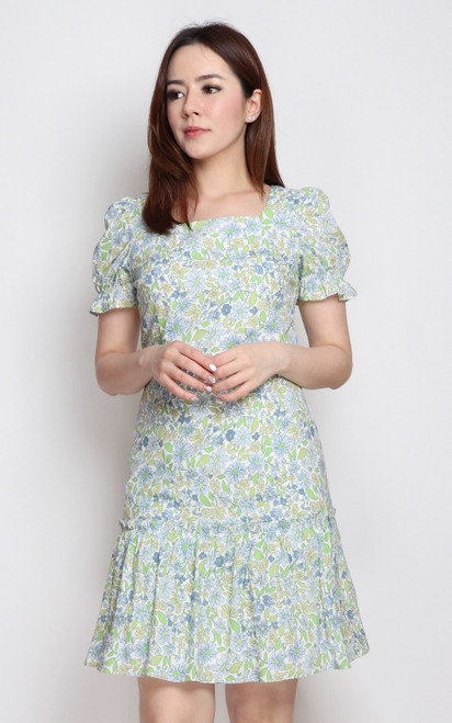 Floral Square Neck Dress - Blue