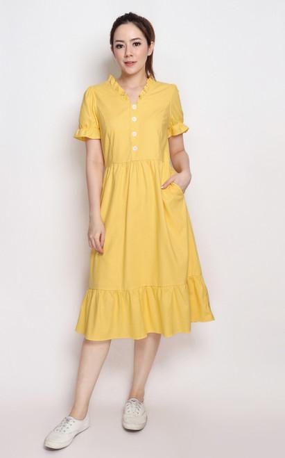 Sunshine Linen Midi Dress