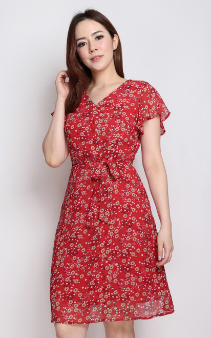 Sakura Flutter Sleeves Dress - Red
