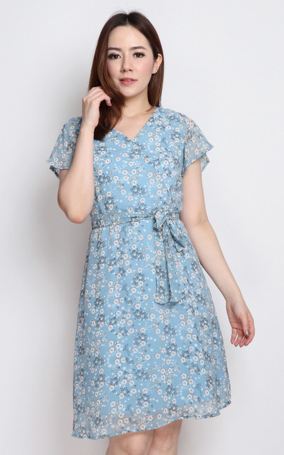 Sakura Flutter Sleeves Dress - Blue