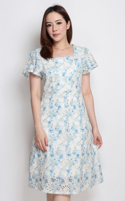 Porcelain Floral Eyelet Dress