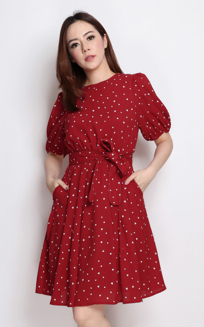 Hearts Print Dress - Red
