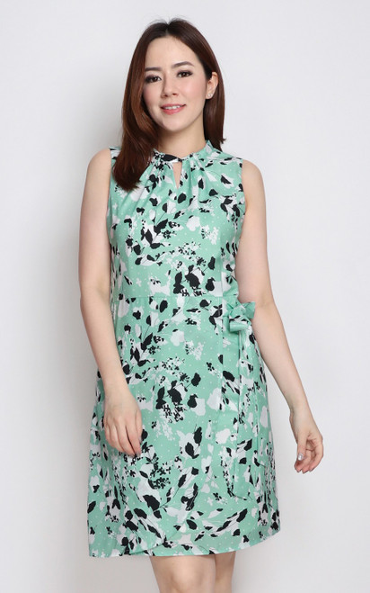 Printed Keyhole Dress - Mint